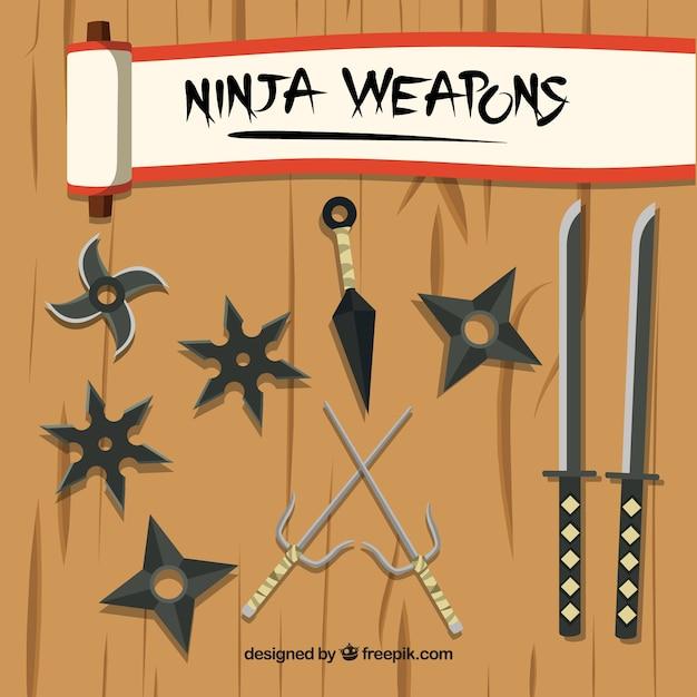 Collection d'éléments ninja traditionnels avec un design plat Vecteur gratuit