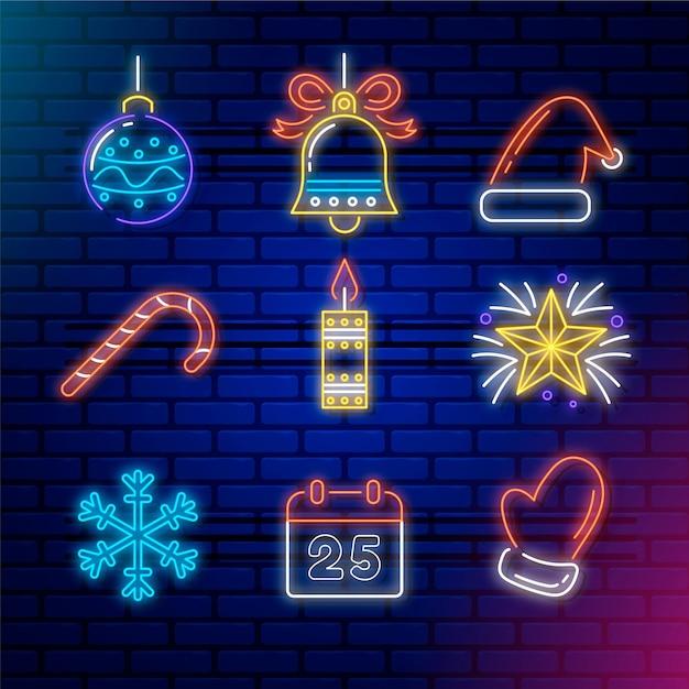 Collection D'éléments De Noël Au Néon Vecteur Premium