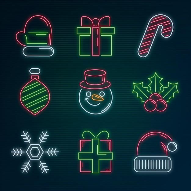 Collection D'éléments De Noël Au Néon Vecteur gratuit