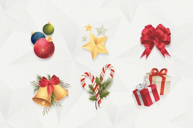 Collection D'éléments De Noël Design Plat Vecteur gratuit