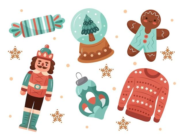 Collection D'éléments De Noël Dessinés à La Main Vecteur Premium