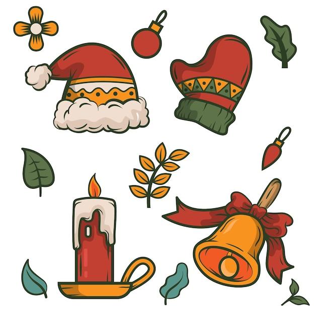 Collection D'éléments De Noël Dessinés à La Main Vecteur gratuit