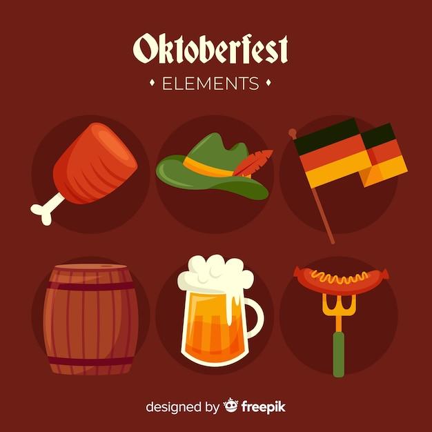 Collection d'éléments oktoberfest design plat Vecteur gratuit