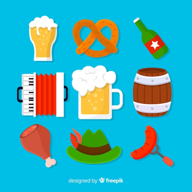 Collection d'éléments oktoberfest design plat Vecteur gratuit