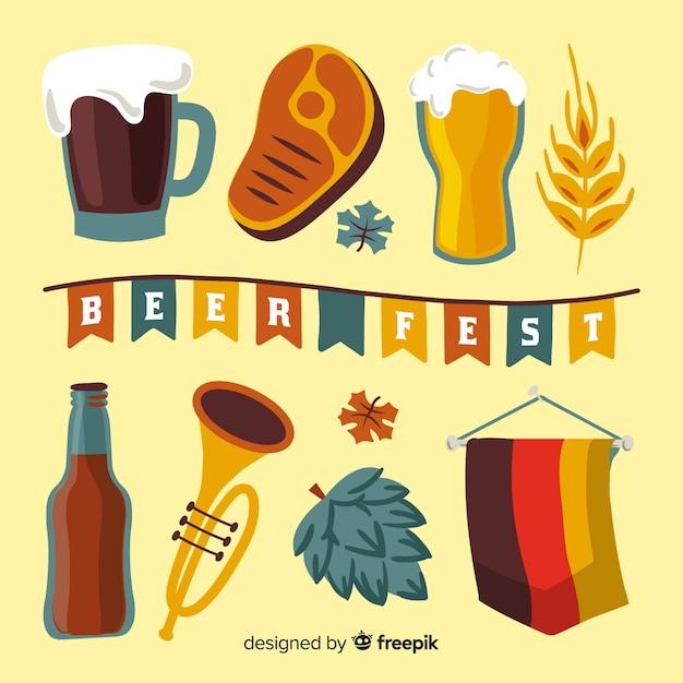 Collection D'éléments Oktoberfest Dessinés à La Main Vecteur gratuit