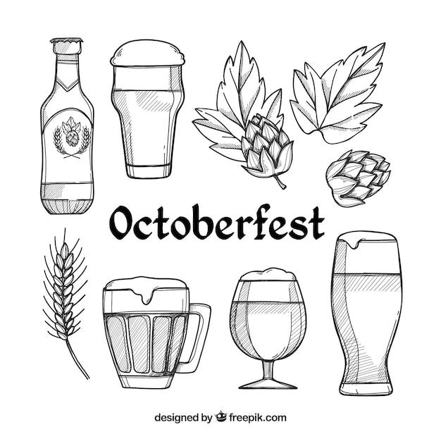 Collection d'éléments oktoberfest Vecteur gratuit