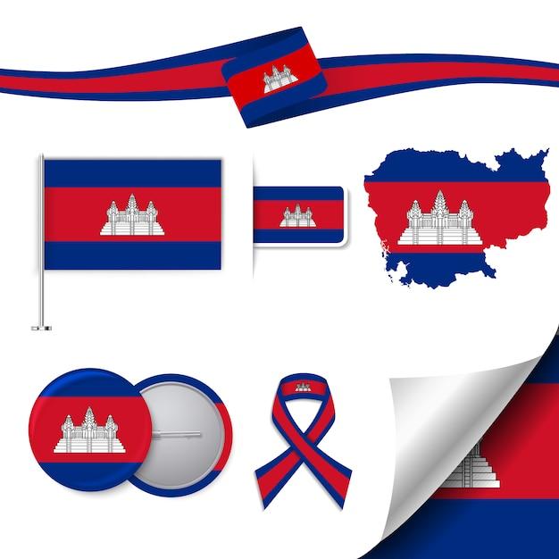 Collection D'éléments De Papeterie Avec Le Drapeau Du Design Cambodge Vecteur gratuit