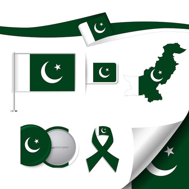 Collection d'éléments de papeterie avec le drapeau du design du pakistan Vecteur gratuit
