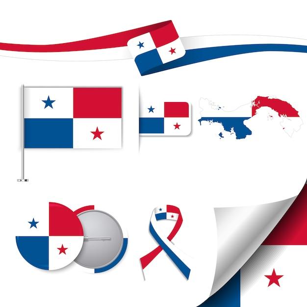 Collection d'éléments de papeterie avec le drapeau du design panama Vecteur gratuit