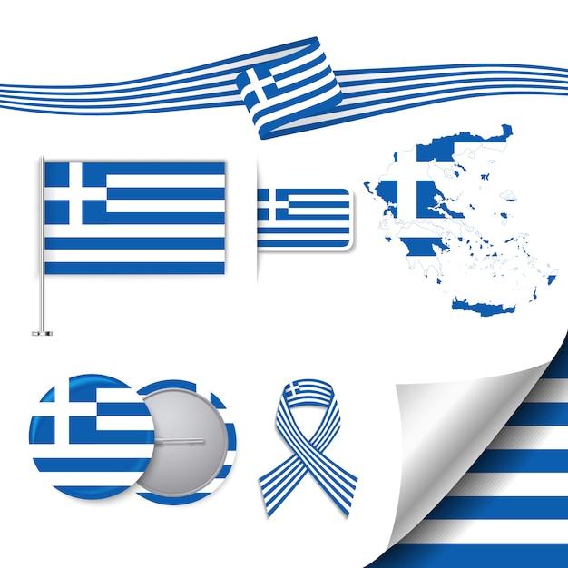 Collection d'éléments de papeterie avec le drapeau de la grèce Vecteur gratuit