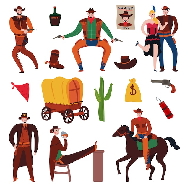 Collection D'éléments Et De Personnages Du Far West Vecteur gratuit