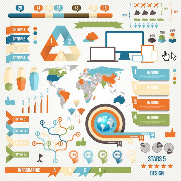 Collection d'éléments de personnes infographie pour les entreprises Vecteur Premium