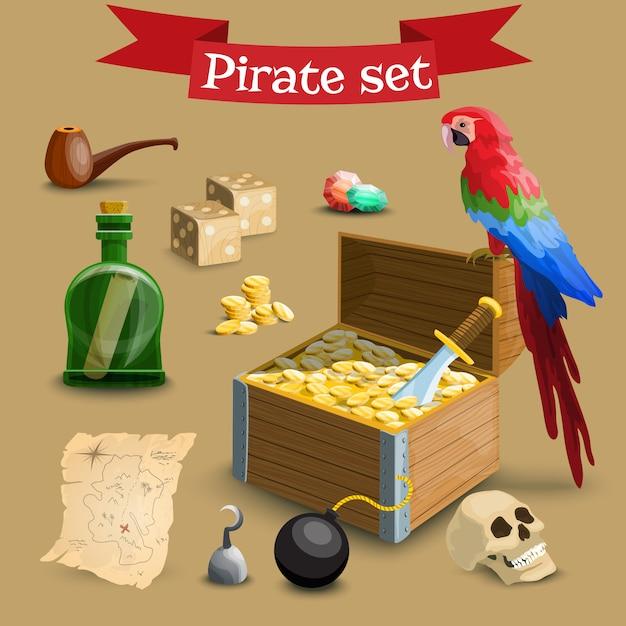 Collection d'éléments de pirates. Vecteur Premium