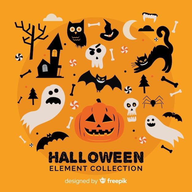 Collection d'éléments plats halloween Vecteur gratuit