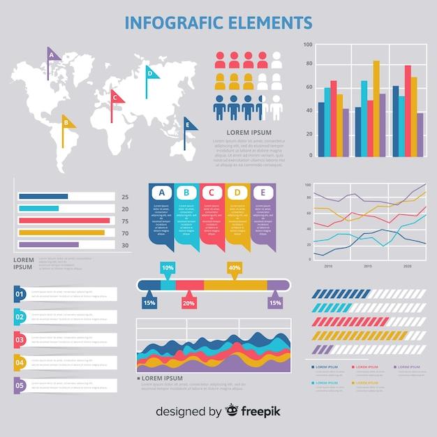 Collection d'éléments plats infographiques Vecteur gratuit