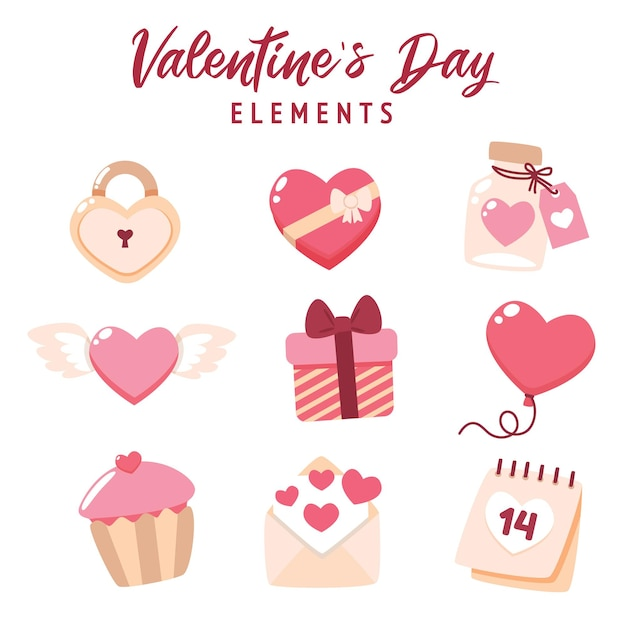 Collection D'éléments Plats De La Saint-valentin Avec Illustration Mignonne Vecteur Premium