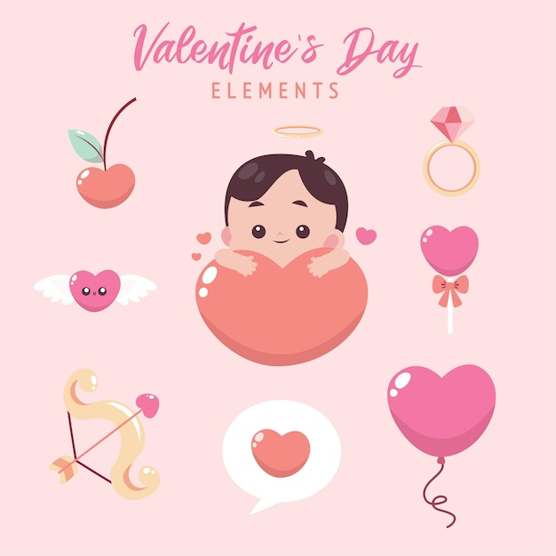 Collection D'éléments Plats De La Saint-valentin Avec Illustration Mignonne Vecteur Premium