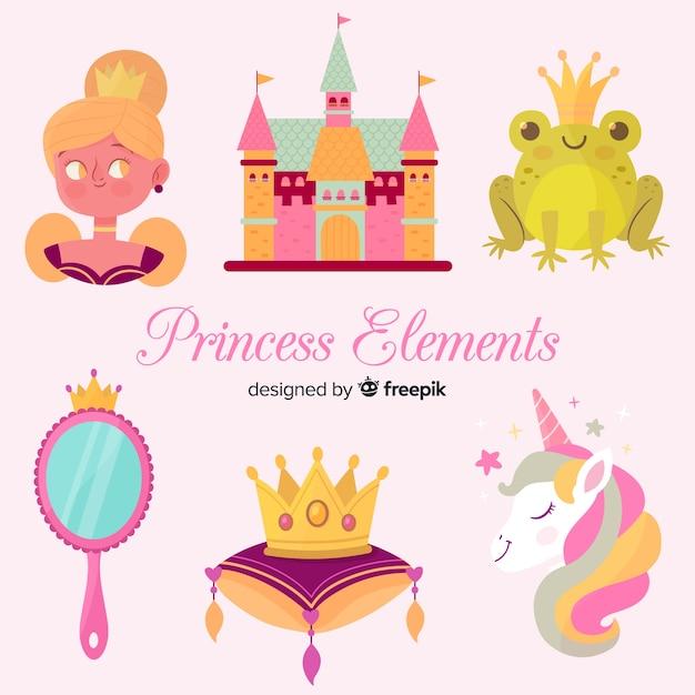 Collection d'éléments de princesse dessinés à la main Vecteur gratuit