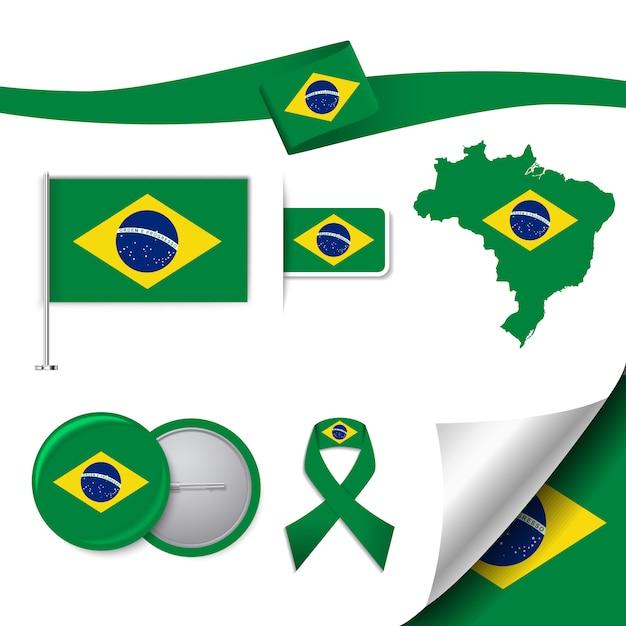 Collection d'éléments représentatifs du brésil Vecteur gratuit