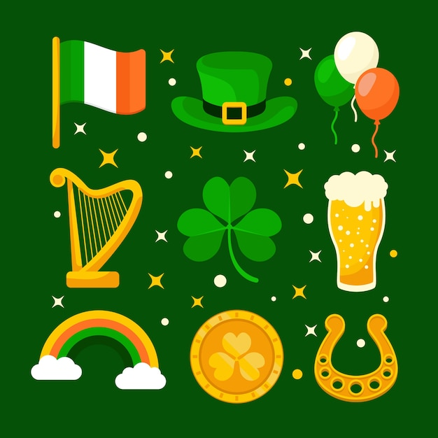 Collection D'éléments De La Saint-patrick Au Design Plat Vecteur gratuit