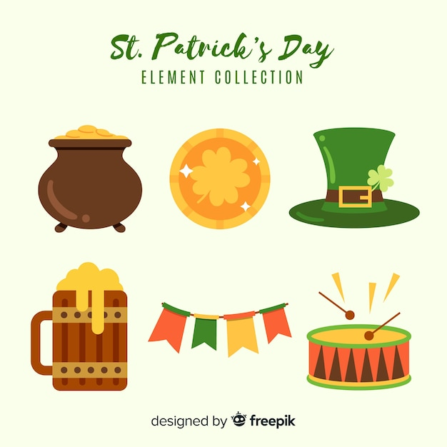 Collection d'éléments de la saint patrick Vecteur gratuit