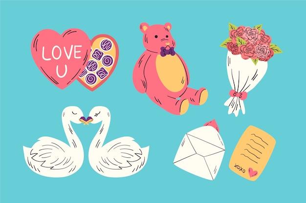 Collection d'éléments de saint valentin dessinés à la main Vecteur gratuit