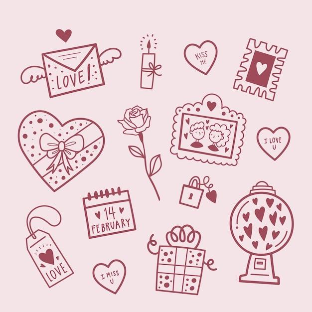 Collection D'éléments De La Saint-valentin Vecteur gratuit