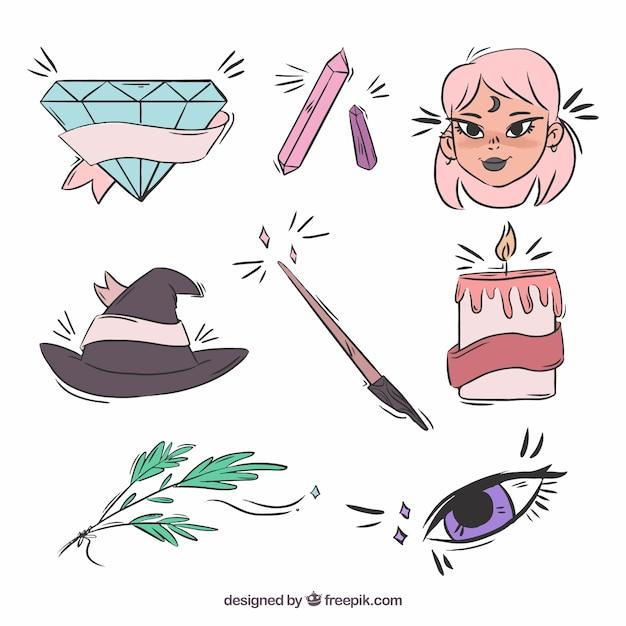 Collection d'éléments sorciers dessinés à la main Vecteur gratuit