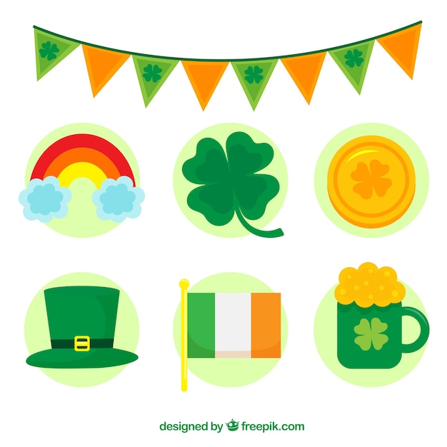 Collection d'éléments de st. patrick Vecteur gratuit