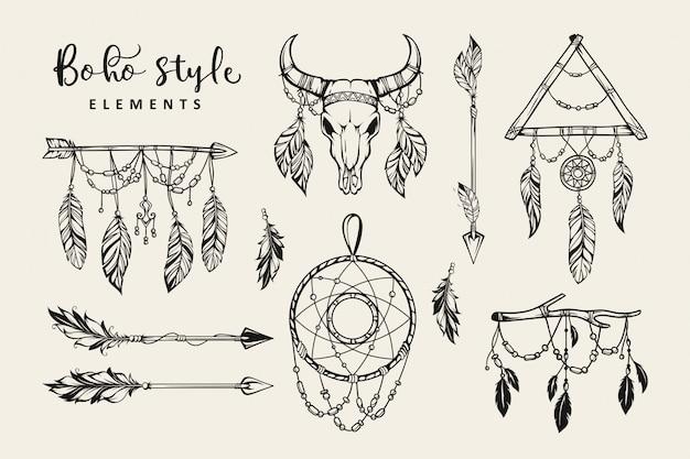 Collection D'éléments De Style Boho Dessinés à La Main Vecteur Premium