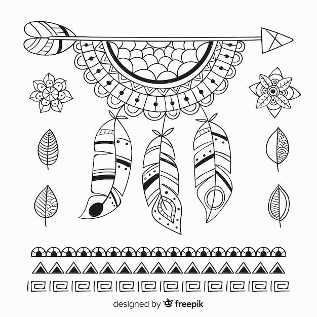 Collection d'éléments de style boho dessinés à la main Vecteur gratuit