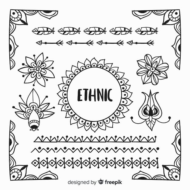 Collection d'éléments de style ethnique dessinés à la main Vecteur gratuit