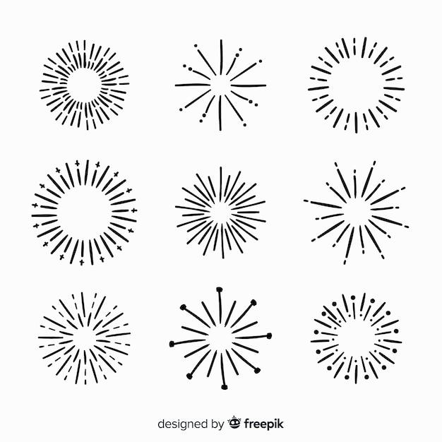 Collection D'éléments Sunburst Dessinés à La Main Vecteur gratuit