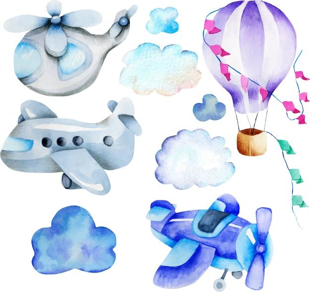 Collection d'éléments de transport aérien d'aquarelle Vecteur Premium