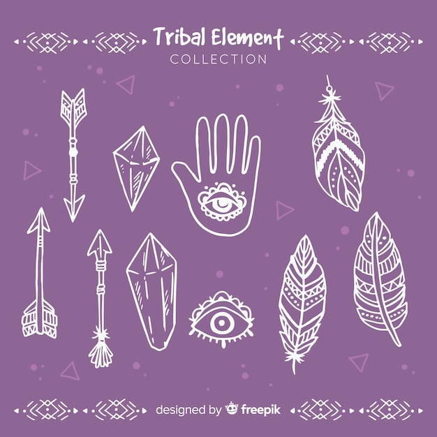 Collection d'éléments tribaux dessinés à la main Vecteur gratuit