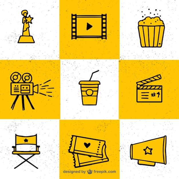 Collection d'éléments typiques du cinéma Vecteur gratuit