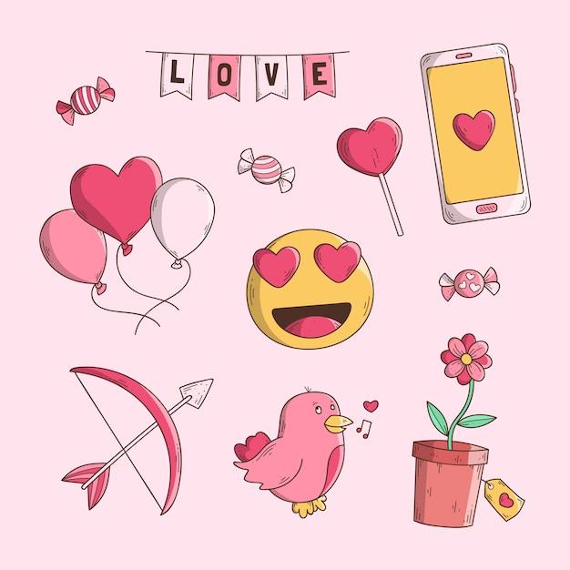 Collection D'éléments De Valentine Dessinés à La Main Vecteur gratuit