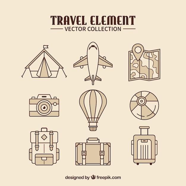 Collection d'éléments de voyage dans un style plat Vecteur gratuit
