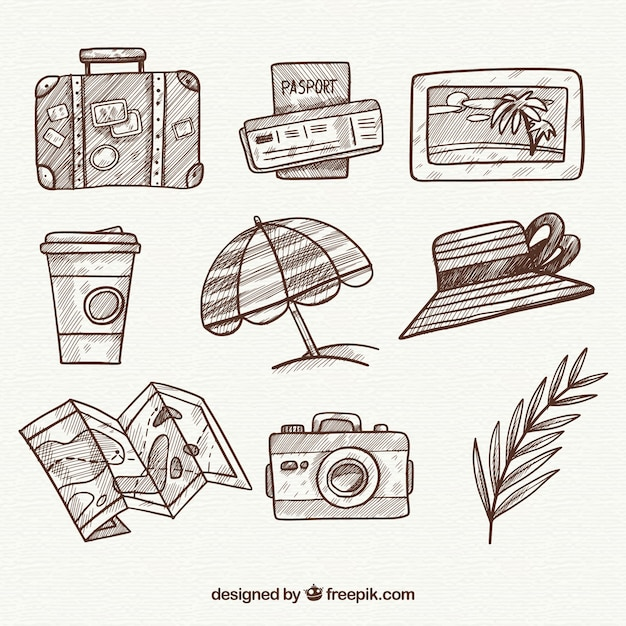 Collection d'éléments de voyage dessinés à la main Vecteur gratuit