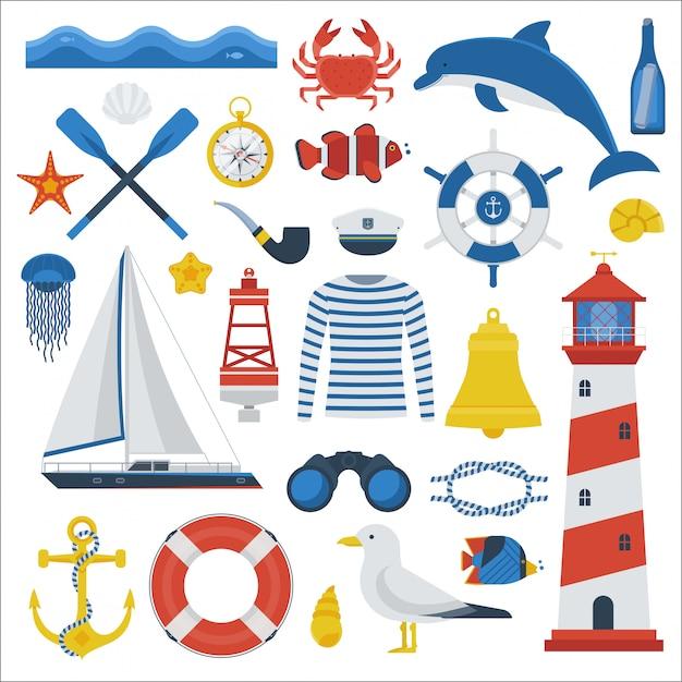 Collection D'éléments De Voyage En Mer. Jeu D'icônes Vectorielles Nautiques. équipement D'aventure Marine. Vecteur Premium