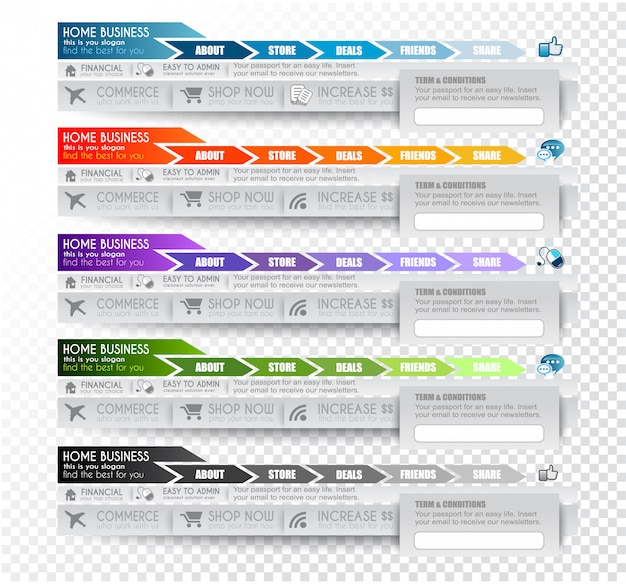 Collection d'éléments web Vecteur Premium