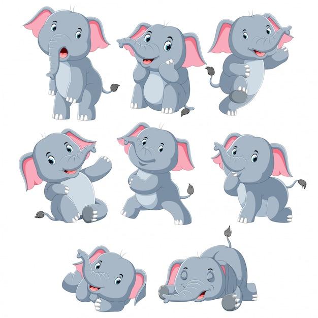 Collection d'éléphant heureux avec divers posant Vecteur Premium