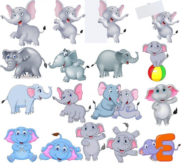 Collection d'éléphants de dessins animés avec différentes actions Vecteur Premium