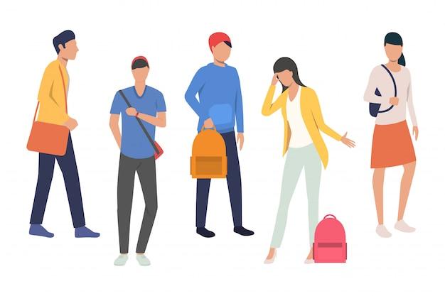 Collection d'élèves du secondaire Vecteur gratuit