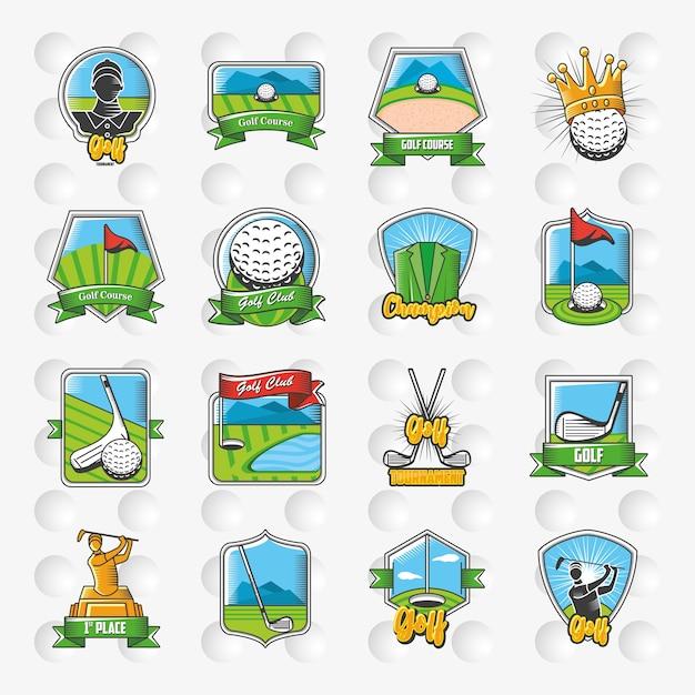 Collection D'emblèmes De Golf, De Boucliers Et D'étiquettes De Conception D'illustration Vecteur Premium