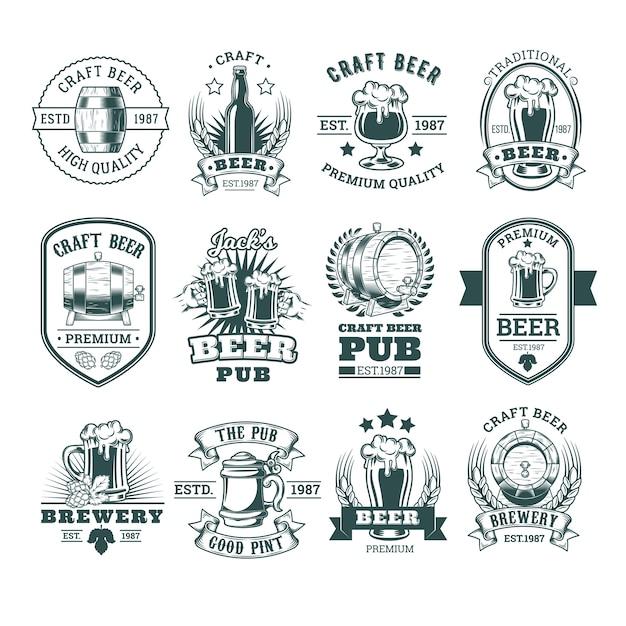 Collection d'emblèmes rétro de la bière, badges, autocollants Vecteur gratuit