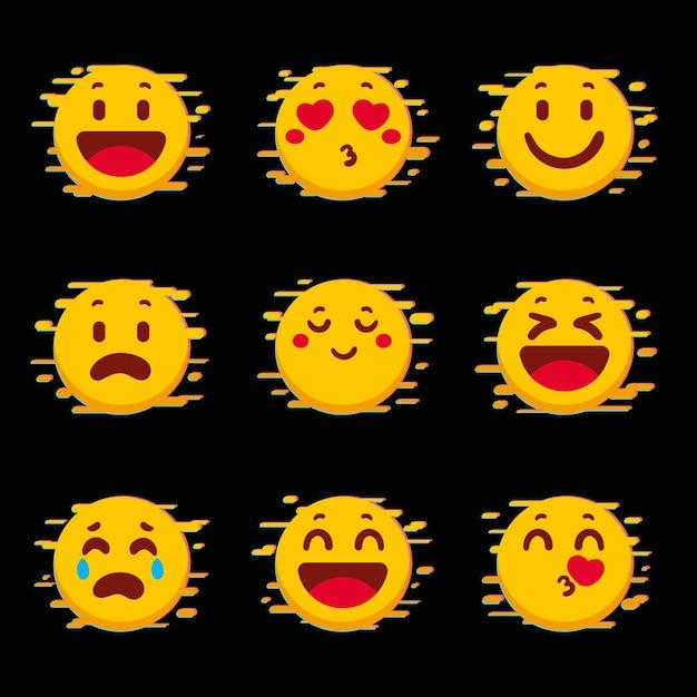 Collection D'emojis Glitch Jaune Vecteur gratuit