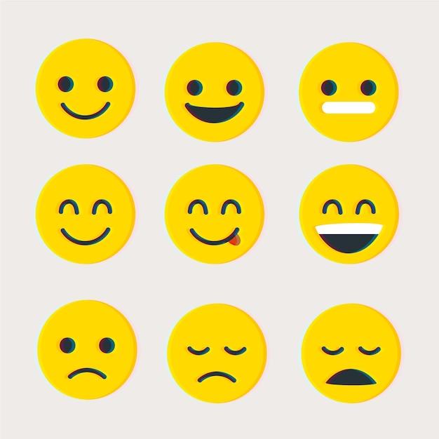 Collection D'emojis Glitch Vecteur gratuit