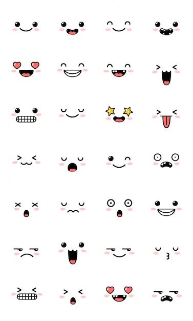 Collection d'émoticônes d'émoticônes kawaii sucrées. Vecteur Premium