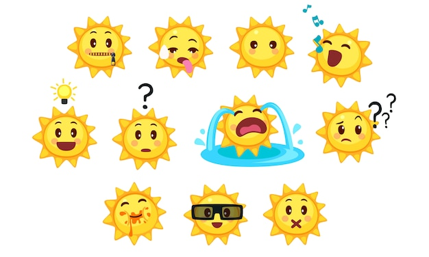 Collection d'émoticônes de soleil mignons Vecteur Premium